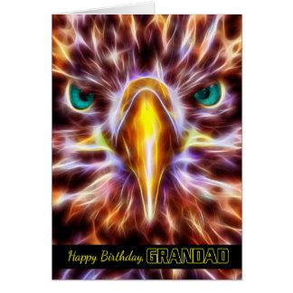 Grandad Sea Eagle Birthday Fractal Wire Flames Card