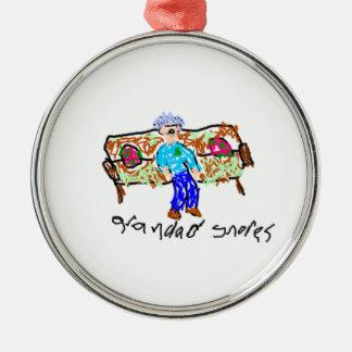 Grandad Snores Metal Ornament