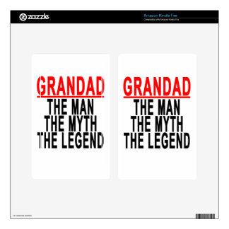 Grandad The Man The Myth The Legend Shirts.png Kindle Fire Decals