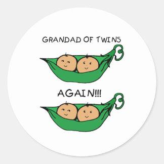 Grandad Twin Again Pod Classic Round Sticker