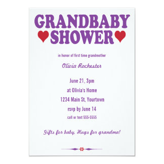 Grandbaby Shower red and purple Card