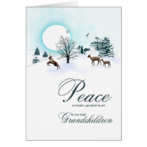Grandchildren, Christmas scene with reindeer Card