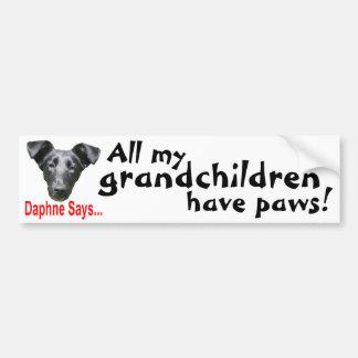 Grandchildren have paws car bumper sticker