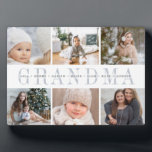 """Grandchildren Photo Collage Plaque<br><div class=""""desc"""">Create a sweet gift for grandma with this six photo collage plaque. """"GRANDMA"""" appears in the center in chic gray lettering,  with your custom message and grandchildren's names overlaid.</div>"""