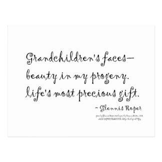 Grandchildren's faces haiku postcard