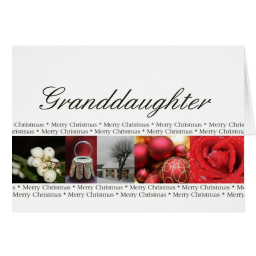 Granddaugher Merry Christmas red, black & white Greeting Cards
