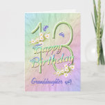 """Granddaughter 13th Birthday Butterfly Garden Card<br><div class=""""desc"""">A rainbow of colors,  pink flowers and lavender butterflies fills this girls 13th Happy Birthday card with joy for Granddaughter.  Front name and inside verse may be personalized using the template provided.  Original design by Anura Design Studio.</div>"""