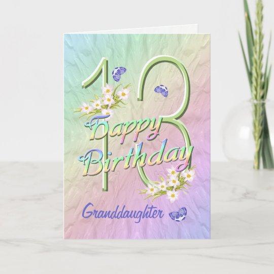 Granddaughter 13th Birthday Butterfly Garden Card