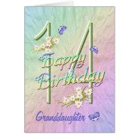 Granddaughter 14th Birthday Butterfly Garden Card