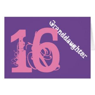 Granddaughter, 16th birthday, white, pink, purple. card