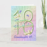 """Granddaughter 18th Birthday Butterfly Garden Card<br><div class=""""desc"""">A rainbow of colors, pink flowers and lavender butterflies fills this girls 18th Happy Birthday card with joy for granddaughter. Front name and inside verse may be personalized using the template provided. You may also enjoy the matching gifts and other products available in my store. Original design by Anura Design...</div>"""