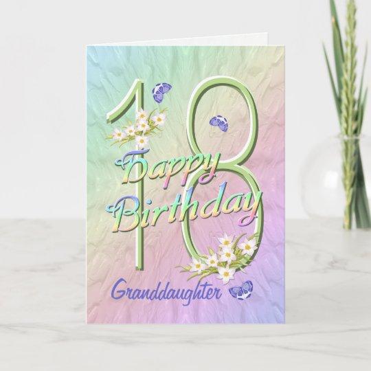 Granddaughter 18th Birthday Butterfly Garden Card