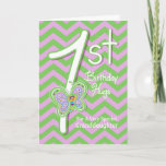 """Granddaughter 1st Birthday Butterfly Hugs Card<br><div class=""""desc"""">Your Granddaughter will giggle when she sees these whimsical butterflies on a purple and green zigzag pattern background with a big number one for her 1st birthday card. Personalize name and verse using the template provided. We specialize in custom-made designs, contact us if you would like a unique made-to-order layout...</div>"""