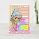 """Granddaughter 1st Birthday Card With Cute Girl<br><div class=""""desc"""">A little girl with her fun party clothes,  and her blocks, </div>"""