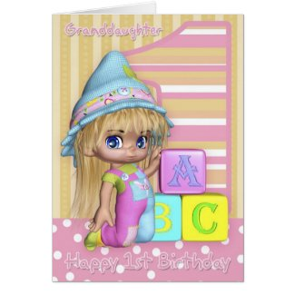 Granddaughter 1st Birthday Card With Cute Girl