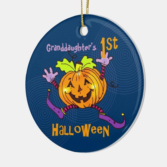 Granddaughter 1st Halloween Happy Pumpkin Ceramic Ornament