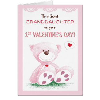 Granddaughter, 1st Valentine's Day, Pink Teddy Bea Card