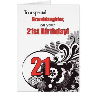 Granddaughter, 21st Birthday Religious Swirls Card