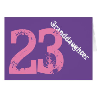 Granddaughter, 23rd birthday, white, pink, purple. card