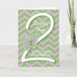 """Granddaughter 2nd Birthday Butterfly Hugs Card<br><div class=""""desc"""">Your Granddaughter will giggle when she sees these whimsical butterflies on a purple and green zigzag pattern background with a big number two for her 2nd birthday card. Personalize name and verse using the template provided. We specialize in custom-made designs, contact us if you would like a unique made-to-order layout...</div>"""