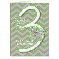 Granddaughter 3rd Birthday Butterfly Hugs Card