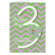 Granddaughter 3rd Birthday Butterfly Hugs Card