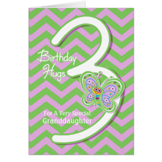 Granddaughter 3rd Birthday Butterfly Hugs Greeting Card