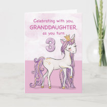 Granddaughter 3rd Birthday Pink Horse With Crown Card