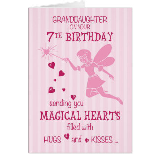 Granddaughter 7th Birthday Magical Fairy Pink Card