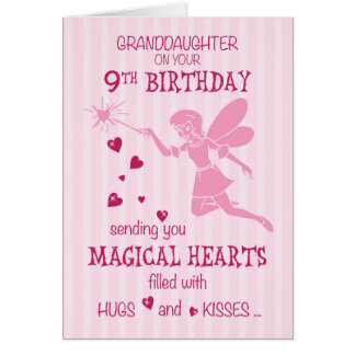 Granddaughter 9th Birthday Magical Fairy Pink Card