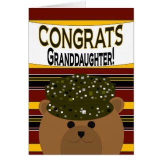 Granddaughter - Army Soldier Congrats Greeting Card