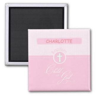 Granddaughter Baptism, Custom Name, Pink Child o Magnet