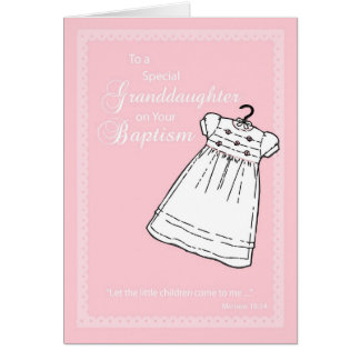 Granddaughter, Baptism Gown on Pink Greeting Card