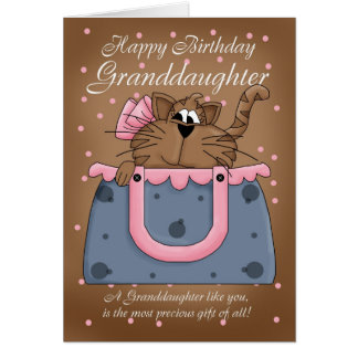 Granddaughter Birthday Card - Cute Cat Purse Pet