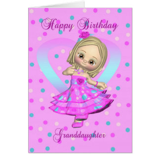 granddaughter birthday card - pink and blue polka