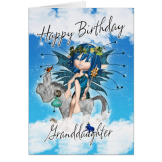 Granddaughter Birthday Card - With Sky Fairy On Ro