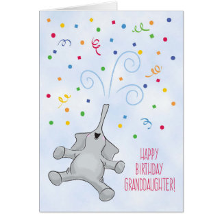 Granddaughter Birthday, Elephant & Confetti Card