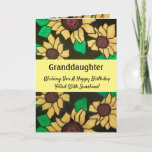 """Granddaughter Birthday Sunshine Sunflowers Card<br><div class=""""desc"""">Celebrate your granddaughter's happy birthday with a sunny bright sunflower card. Simple yellow blossoms add pops of vibrant color to the dramatic black background. Stylish,  modern and full of cheer,  the watercolor and ink painting is a creative way to send sunflowers and sunshine on a special day.</div>"""