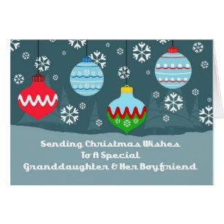 Granddaughter & Boyfriend Ornaments Christmas Card