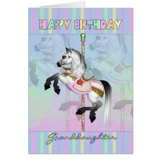 Granddaughter carousel birthday card - pastel caro