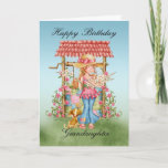 """Granddaughter Cute Girl And Wishing Well Birthday Card<br><div class=""""desc"""">Granddaughter Cute Girl And Wishing Well Birthday Card - Happy Birthday</div>"""