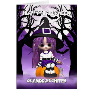 Granddaughter Cute Witch Halloween Greeting Card