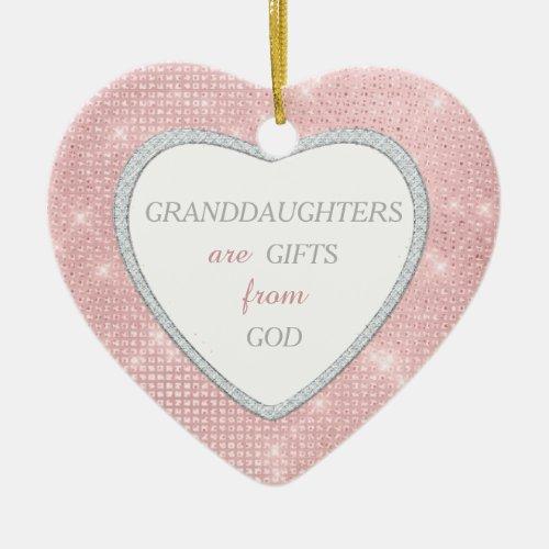 Granddaughter Elegant Lights Pink Christmas Ceramic Ornament