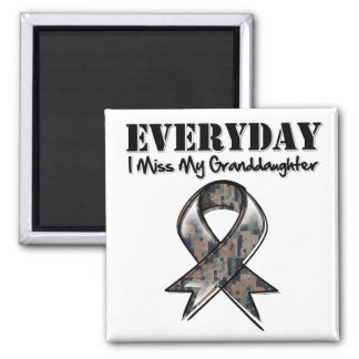 Granddaughter - Everyday I Miss My Hero Military 2 Inch Square Magnet