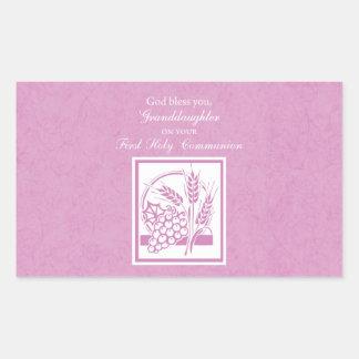 Granddaughter First Communion, Pink Rectangular Sticker