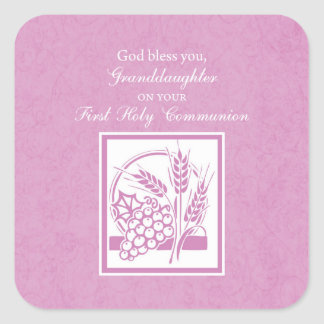 Granddaughter First Communion, Pink Square Sticker