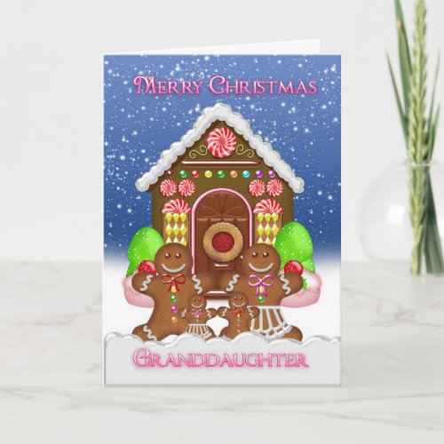 Granddaughter Gingerbread House and Family Christ Holiday Card