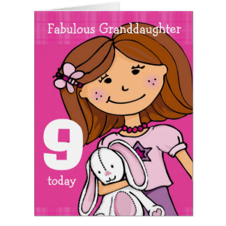 Granddaughter Girl's 9th birthday card pink