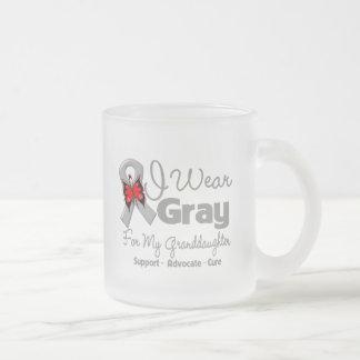 Granddaughter - Gray Ribbon Awareness Frosted Glass Coffee Mug