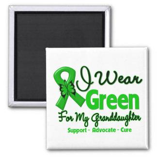 Granddaughter - Green  Awareness Ribbon 2 Inch Square Magnet